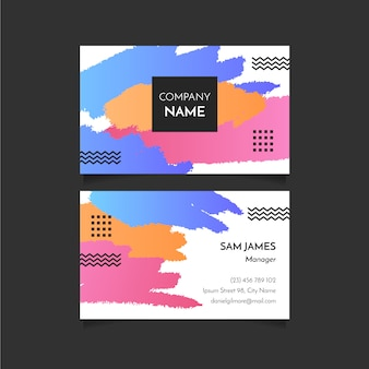 Abstract brush strokes business card