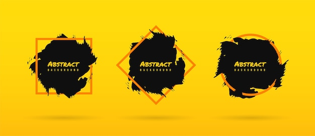 Abstract brush on yellow background set, ink brush paint template with frame