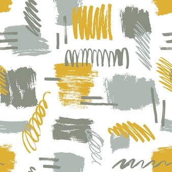 Abstract brushstrokes and scribbles seamless pattern