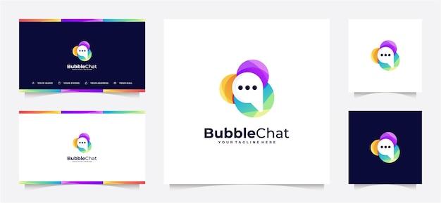 抽象的なバブルチャットのロゴのグラデーションと名刺