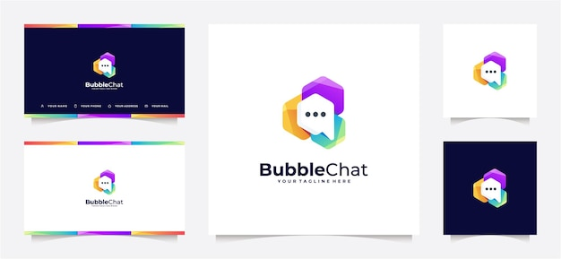 Абстрактный градиент логотипа чат пузыря и визитная карточка