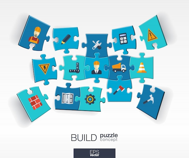 Abstract build background with connected color puzzles, integrated  icons.  infographic concept with industry, construction, architectural, engineering pieces in perspective.  illustration