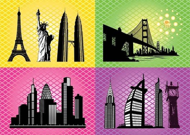 Abstract building bridge landmark vectors