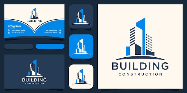 Abstract building construction logo and business card design vector.