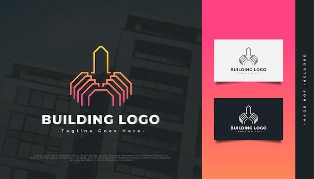 부동산 산업 아이덴티티에 대한 선 스타일이 있는 추상 건물 로고. 건설, 건축 또는 건물 로고 디자인