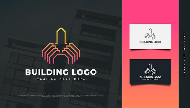 Abstract building logo with line style for real estate industry identity. construction, architecture or building logo design