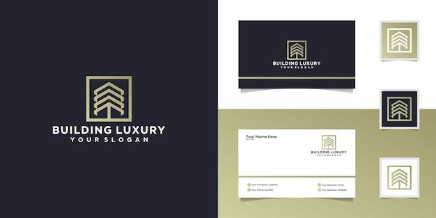 Абстрактное здание логотип с тремя стрелками и квадратами шаблон и визитная карточка