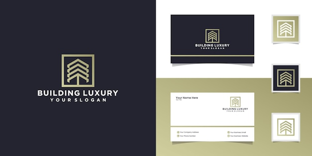 Abstract building logo with three arrows and squares template and business card
