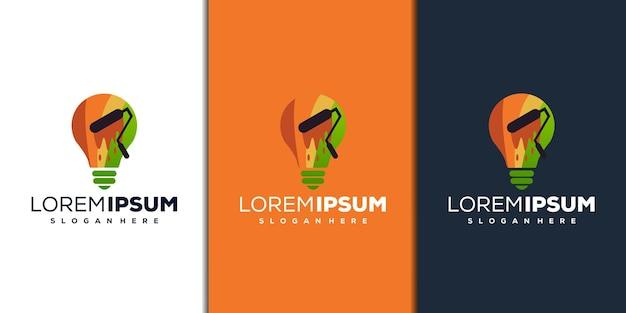 Абстрактный дизайн логотипа лампы и краски