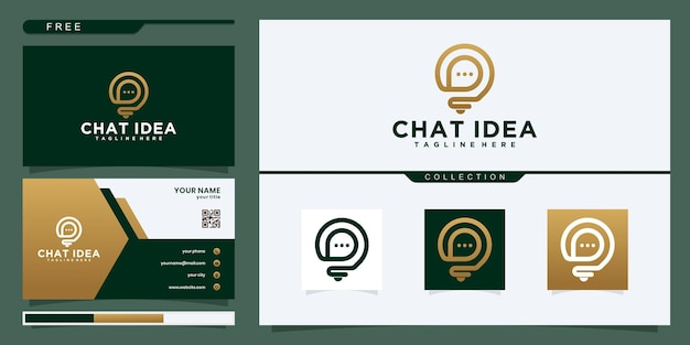 Abstract bulb lamp combine with talk or chat logo and business card design vector