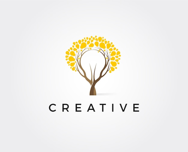 Abstract bulb lamp with tree logo design. nature idea innovation symbol. ecology, growth, development concept.