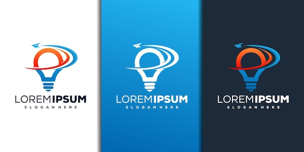 Abstract bulb and paper plane logo design