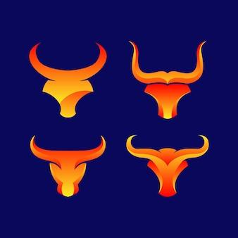 Abstract bull head logo vector illustration. bull head mascot for animal vector logo template. fit for animal mascot or financial trading logo