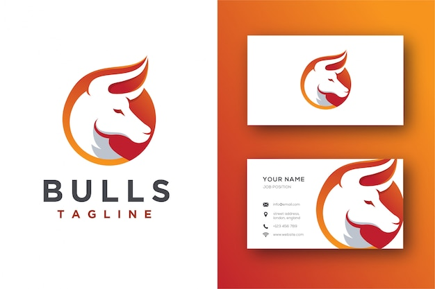 Abstract bull logo and business card template