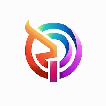 グラデーションの色の概念を持つ抽象的な雄牛のロゴ