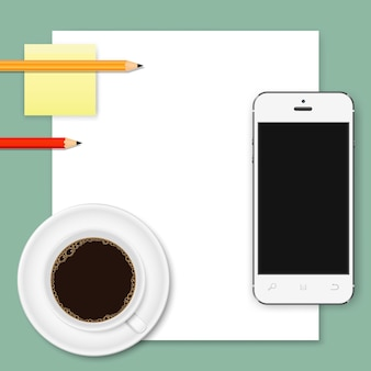 Abstract business background of white paper sheet, smartphone, coffee cup and pencils