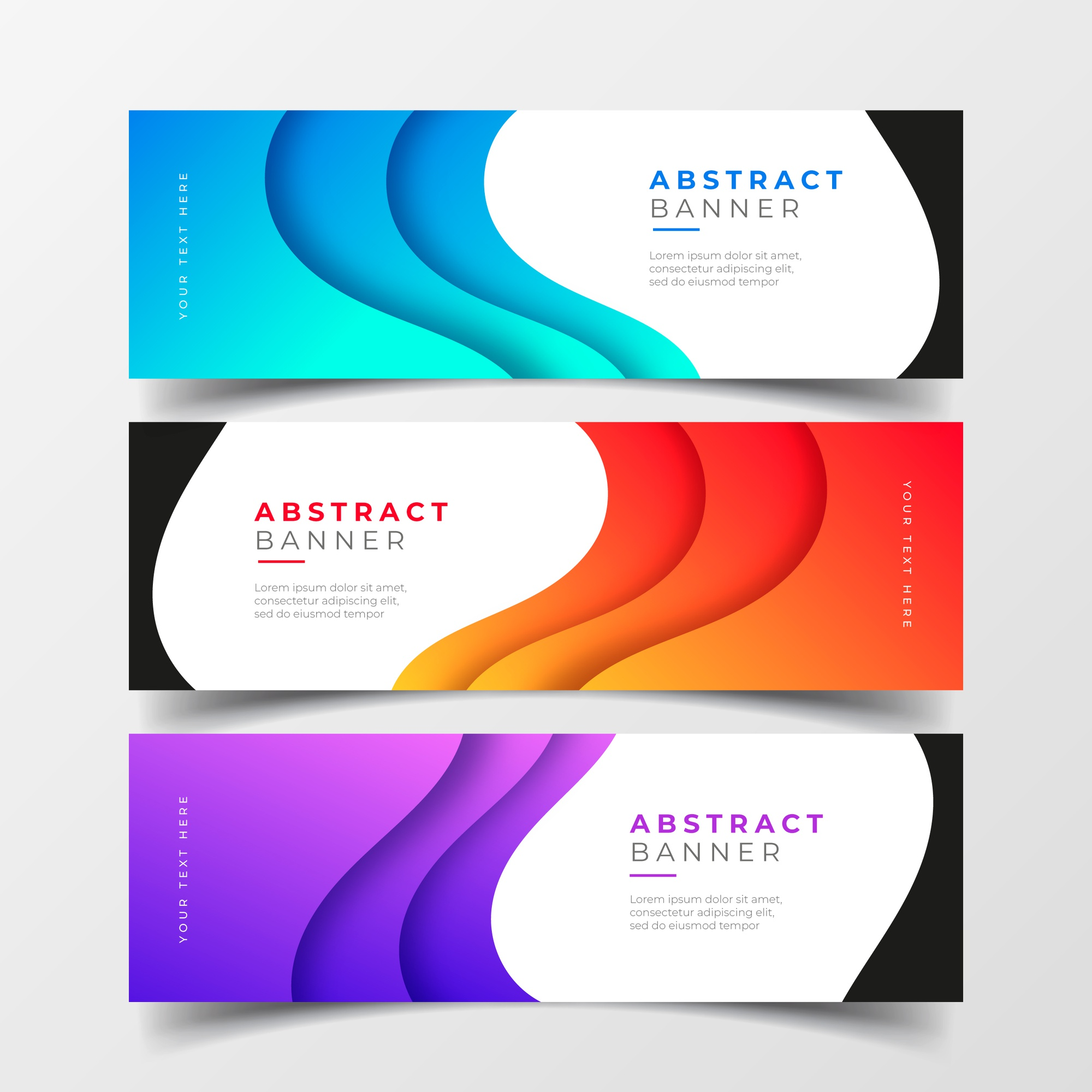 Abstract business banners collection with gradient waves