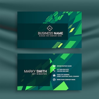 Abstract business card design with green mosaic shapes
