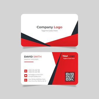 Abstract business card design with red and black