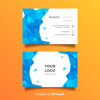 Abstract business card emplate with low poly around