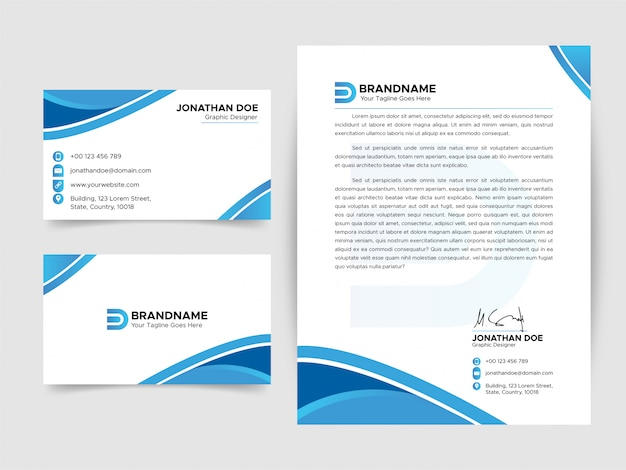 추상 명함 편지지 템플릿 세트, 파란색과 흰색 편지지 디자인 컬렉션