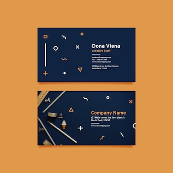 Abstract business card pack with photo