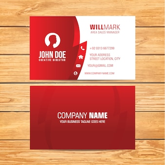 Abstract business card in red color