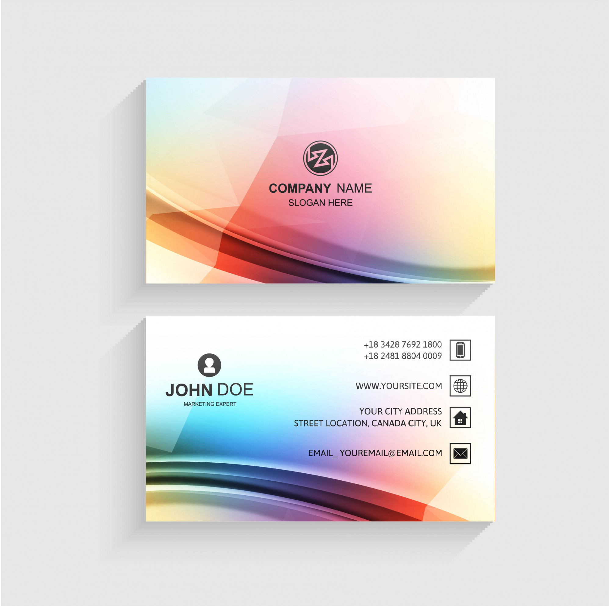 Abstract business card set template with wave design vector