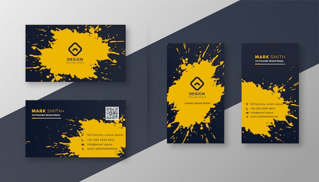 Abstract business card set with yellow splatter