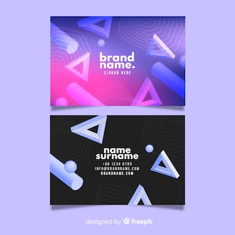 Abstract business card template in 3d geometric style