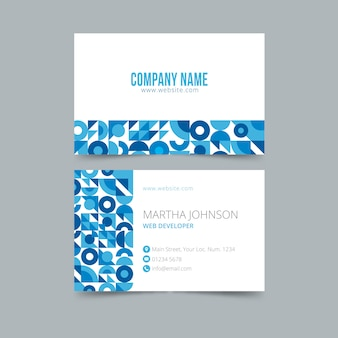 Abstract business card template in blue