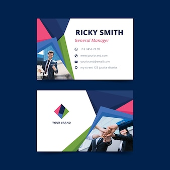 Abstract business card template collection  with image