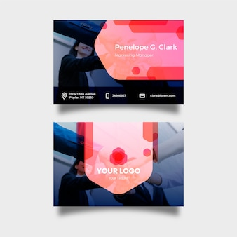 Abstract business card template collection with photo