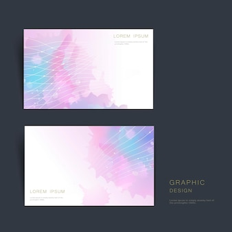 Abstract business card template design with blurred watercolor background