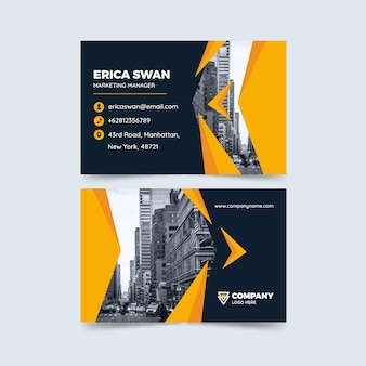 Abstract business card template set with photo