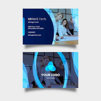 Abstract business card template set with pic