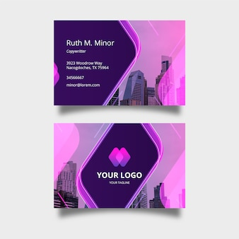 Abstract business card template set with picture