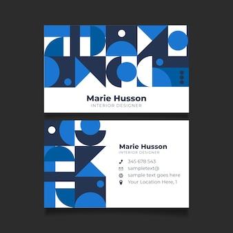 青い幾何学的形状を持つ抽象的な名刺テンプレート