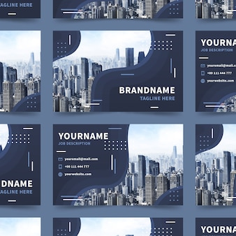 Abstract business card template with city buildings