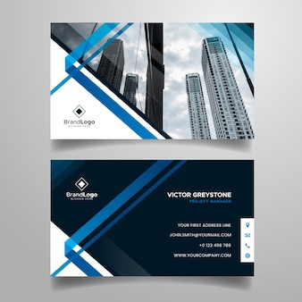 Abstract business card template with city photo