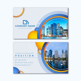 Abstract business card template with city picture