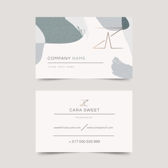 Abstract business card template with colored stains