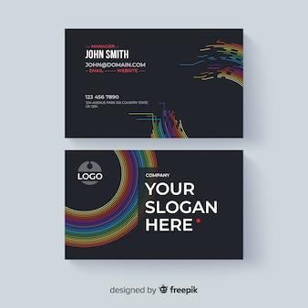 Abstract business card template with colorful style