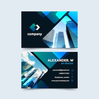Abstract business card template with different shapes and photo