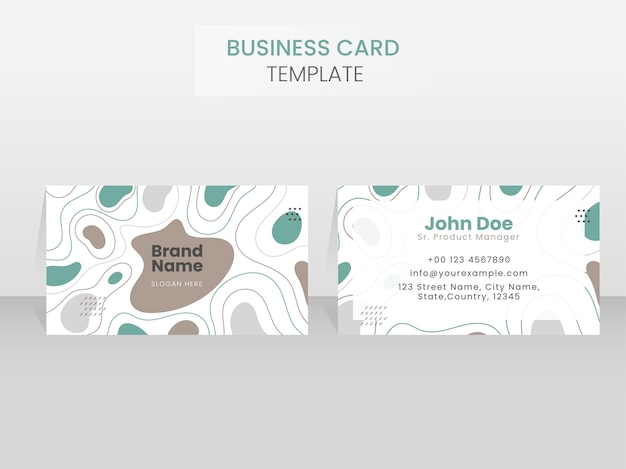Abstract business card template with double-sides on gray backgr