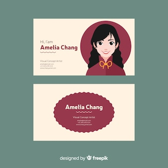 Abstract business card template with face of woman