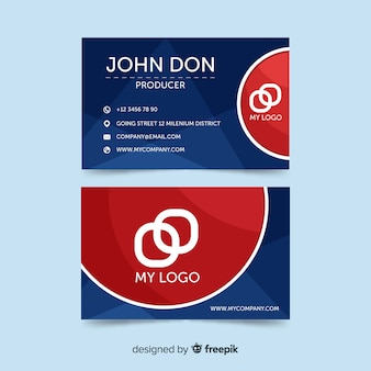 Abstract business card template with flat design