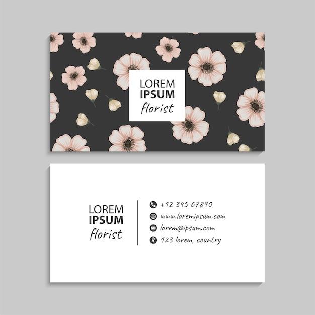 Modello di biglietto da visita astratto con fiori