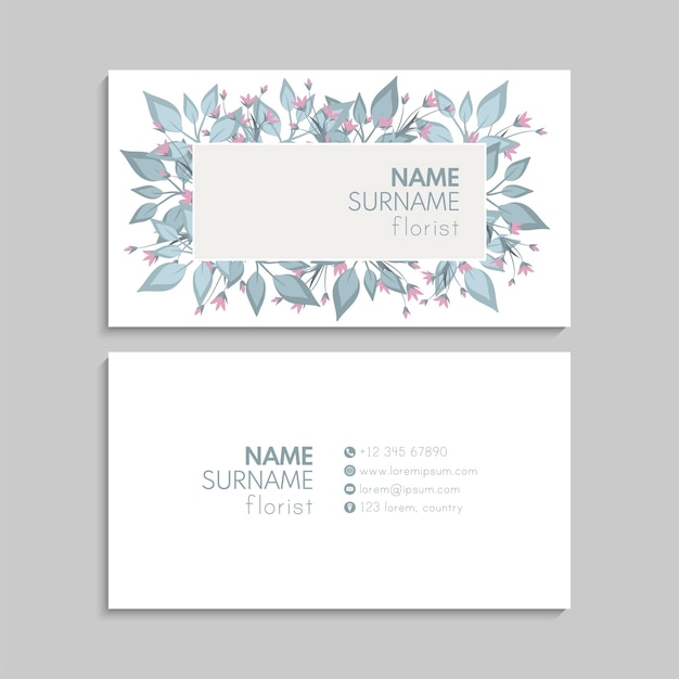 Abstract business card template with flowers