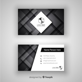 Abstract business card template with geometric design Free Vector